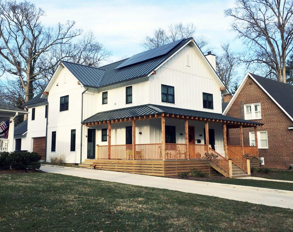 Solar panels on our Elizabeth Ave. custom home in Winston-Salem, NC Solar by  Renu Energy Solutions