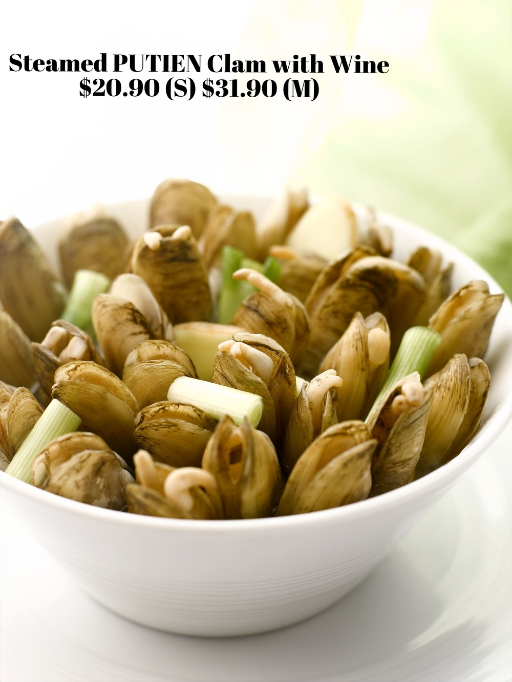 Clams are filled to the brim in a bowl and steamed upright with traditional Chinese wine – Huadiao.