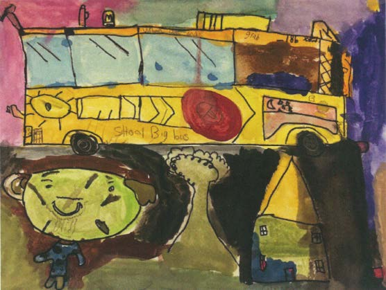 """The Colourful School Bus"" by 15-year-old Lee Yang Lian illustrates a school bus that brings his friends to school"