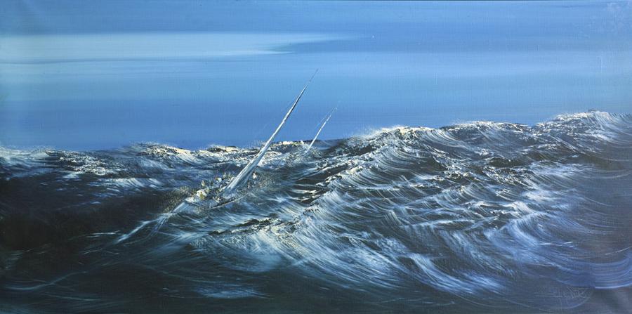 Rodolfo Viola, Burrasca,olio su tela, 80x160cm
