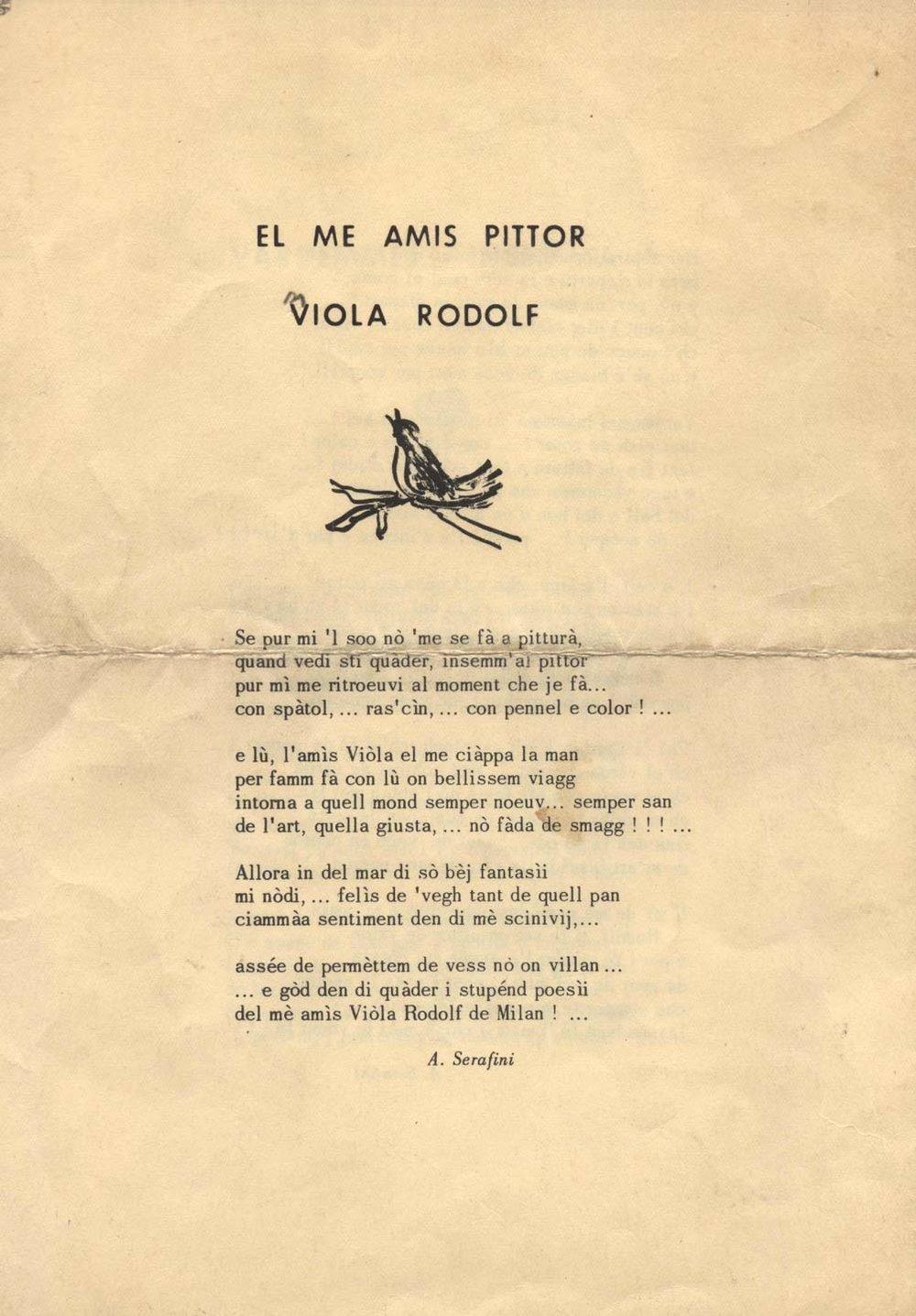 Dedica di Aldo Serafini a Rodolfo Viola
