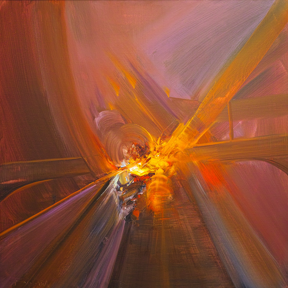 Rodolfo Viola ,  La nascita della luce , oil on canvas, 100 x 100 cm.