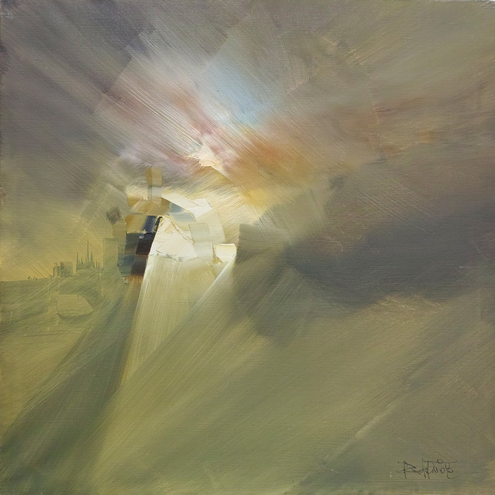 Rodolfo Viola ,  Castello di luce , oil on canvas, 80 x 80 cm.
