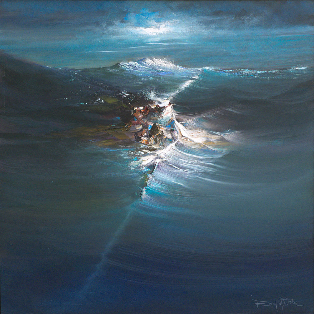 Rodolfo Viola ,  Roccia sul mare , oil on canvas, 100 x 100 cm.