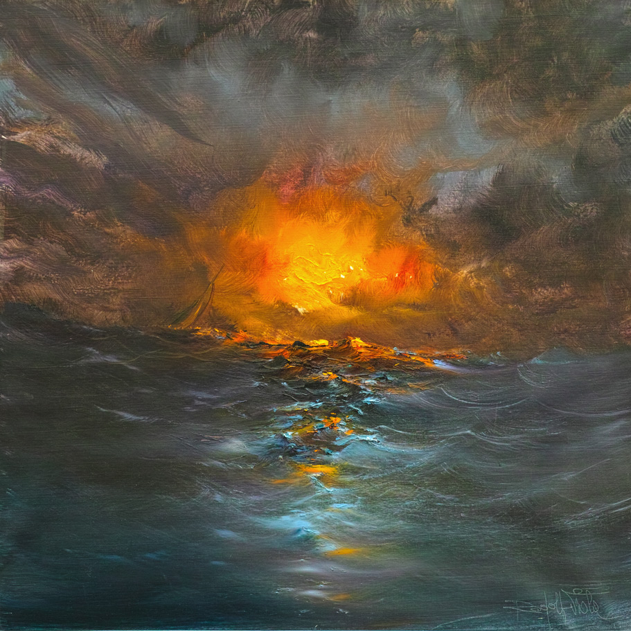 Rodolfo Viola ,  Verso la luce , oil on canvas, 80 x 80 cm