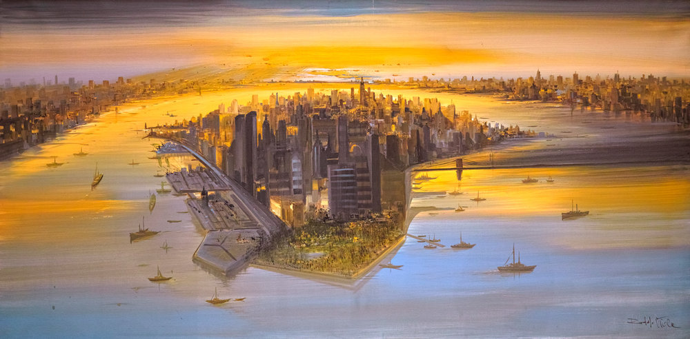 Rodolfo Viola ,  Abbraccio su New York , oil on canvas, 100 x 200 cm.