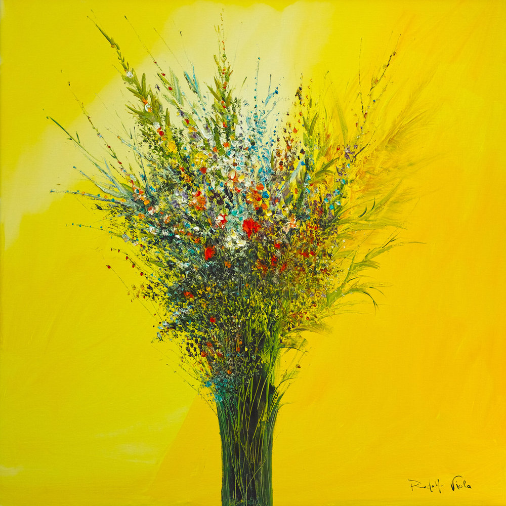 Rodolfo Viola ,  I fiori di San Lorenzo , oil on canvas, 100x100 cm