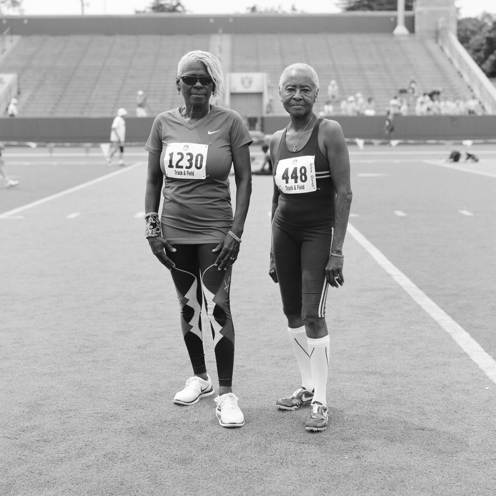 Joann & Barbara, 70-74 sprinter. National Senior Games. Minneapolis, Minnesota. July, 2015.