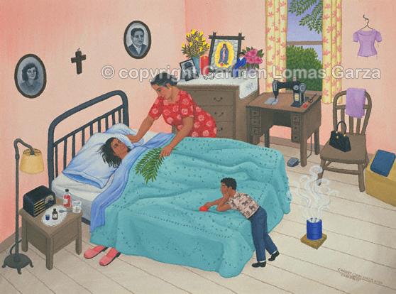 """""""Curandera (faith healer)"""" by Carmen Lomas Garza"""