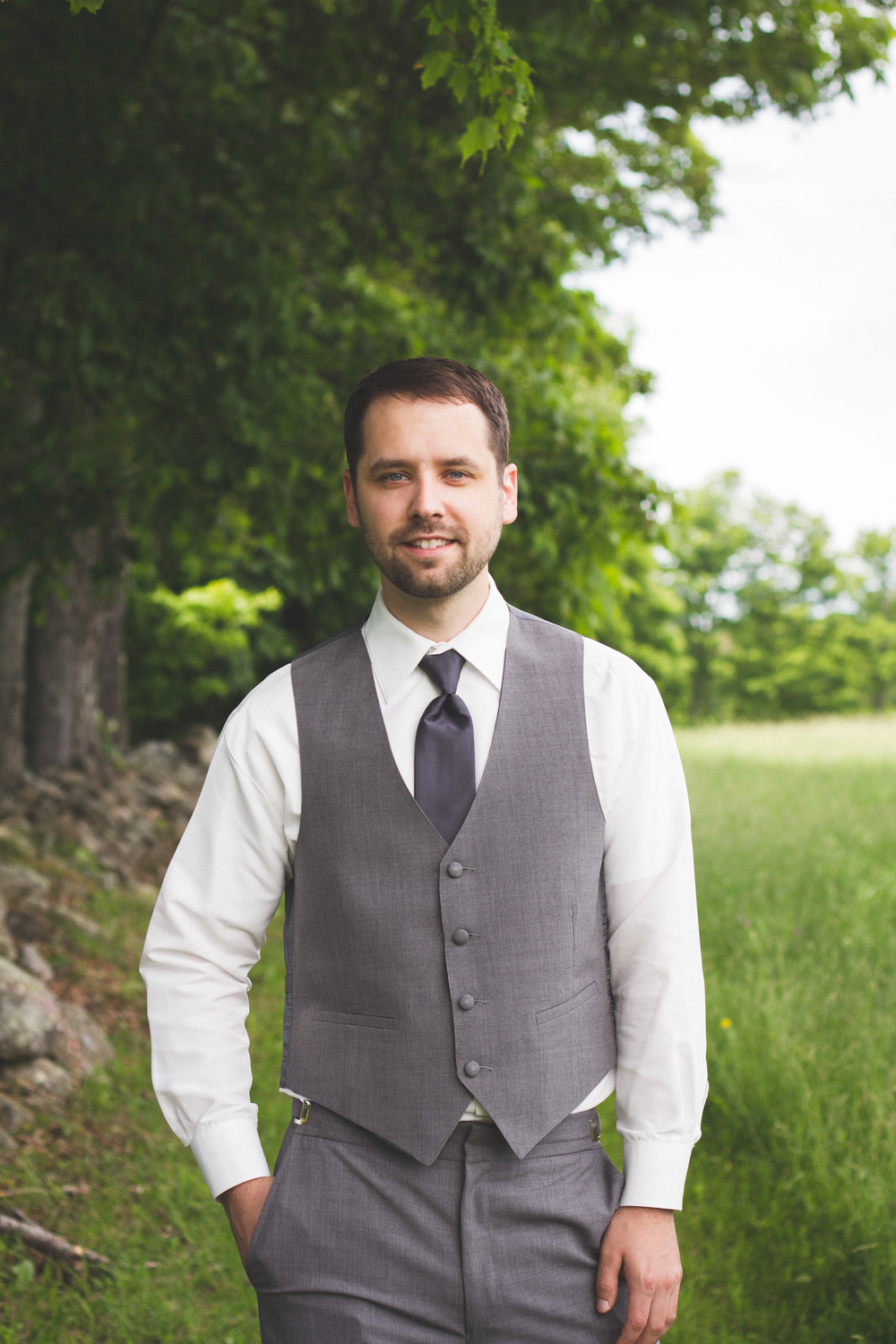 Groom at Bliss Farm in Granville, Massachusetts. Sweet Alice Photography.