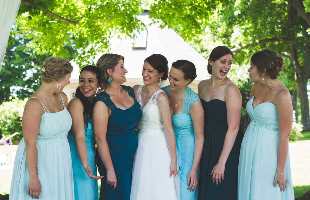 Bridesmaids at Bliss Farm in Granville, Massachusetts. Sweet Alice Photography.