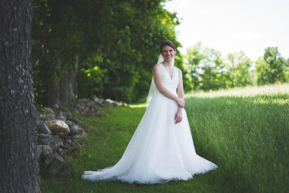 Bride at Bliss Farm in Granville, Massachusetts. Sweet Alice Photography.