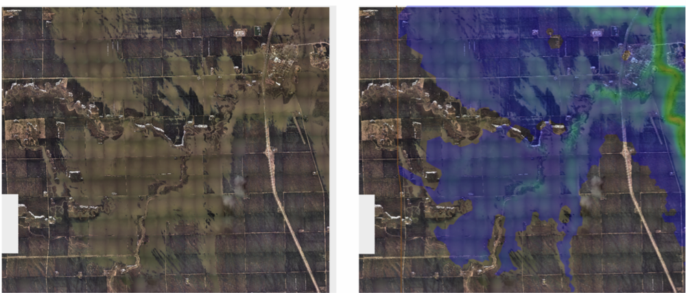 RiverFlow2D predicted maximum flood extent compares remarkably well with the actual flooding captured by aerial images.