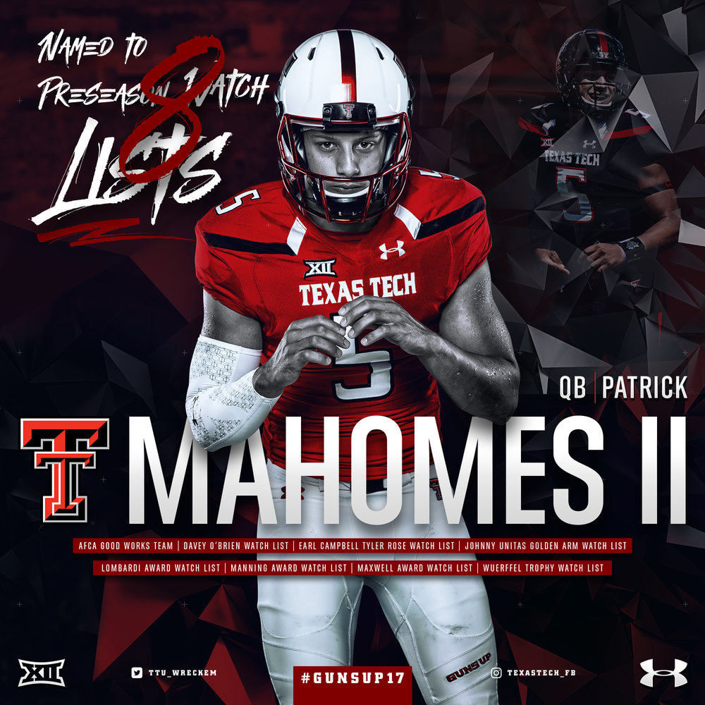 Patrick Mahomes II Texas Tech Football Preseason Watch Lists