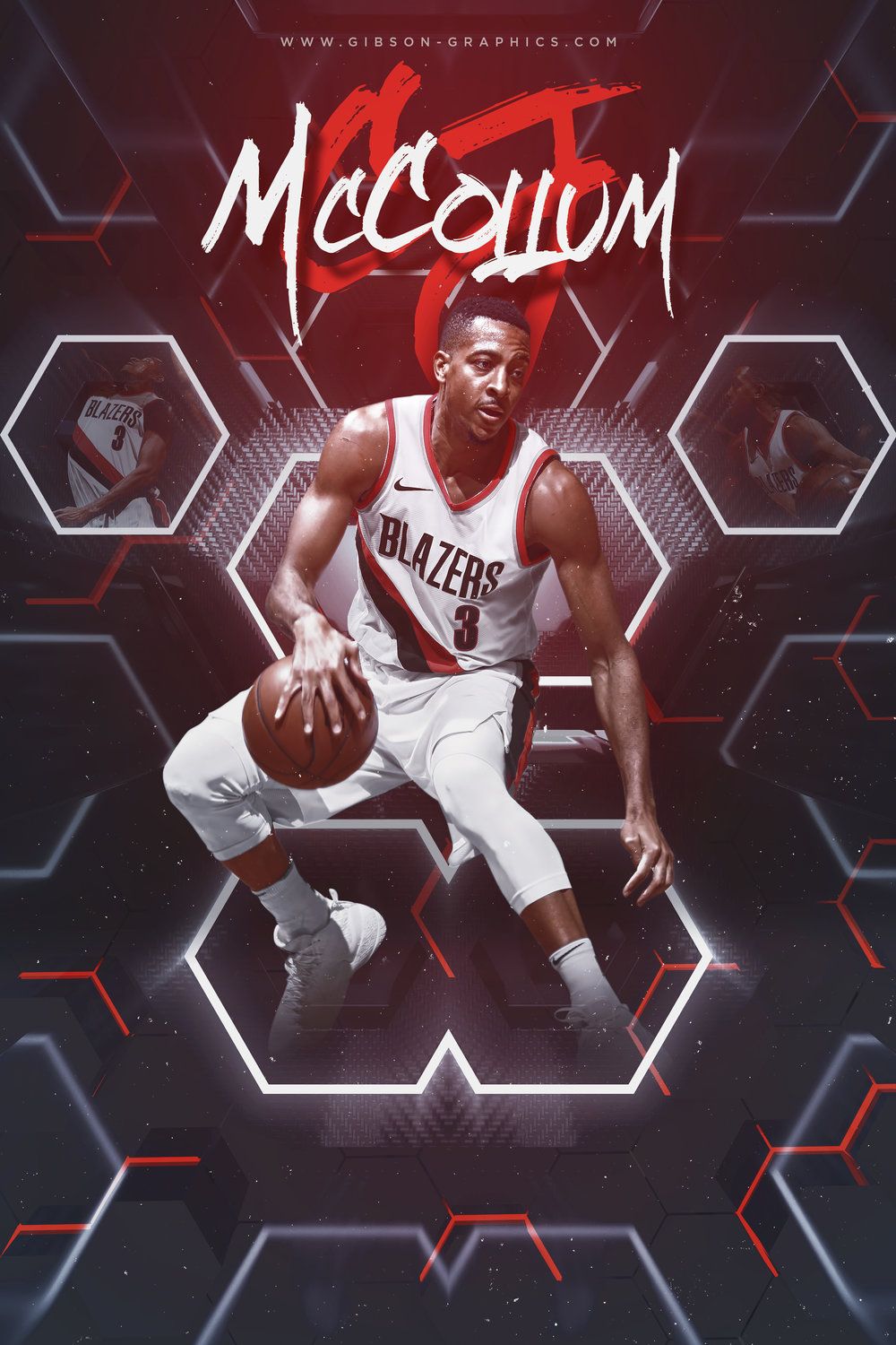 CJ McCollum Abstract Hexagon Artwork