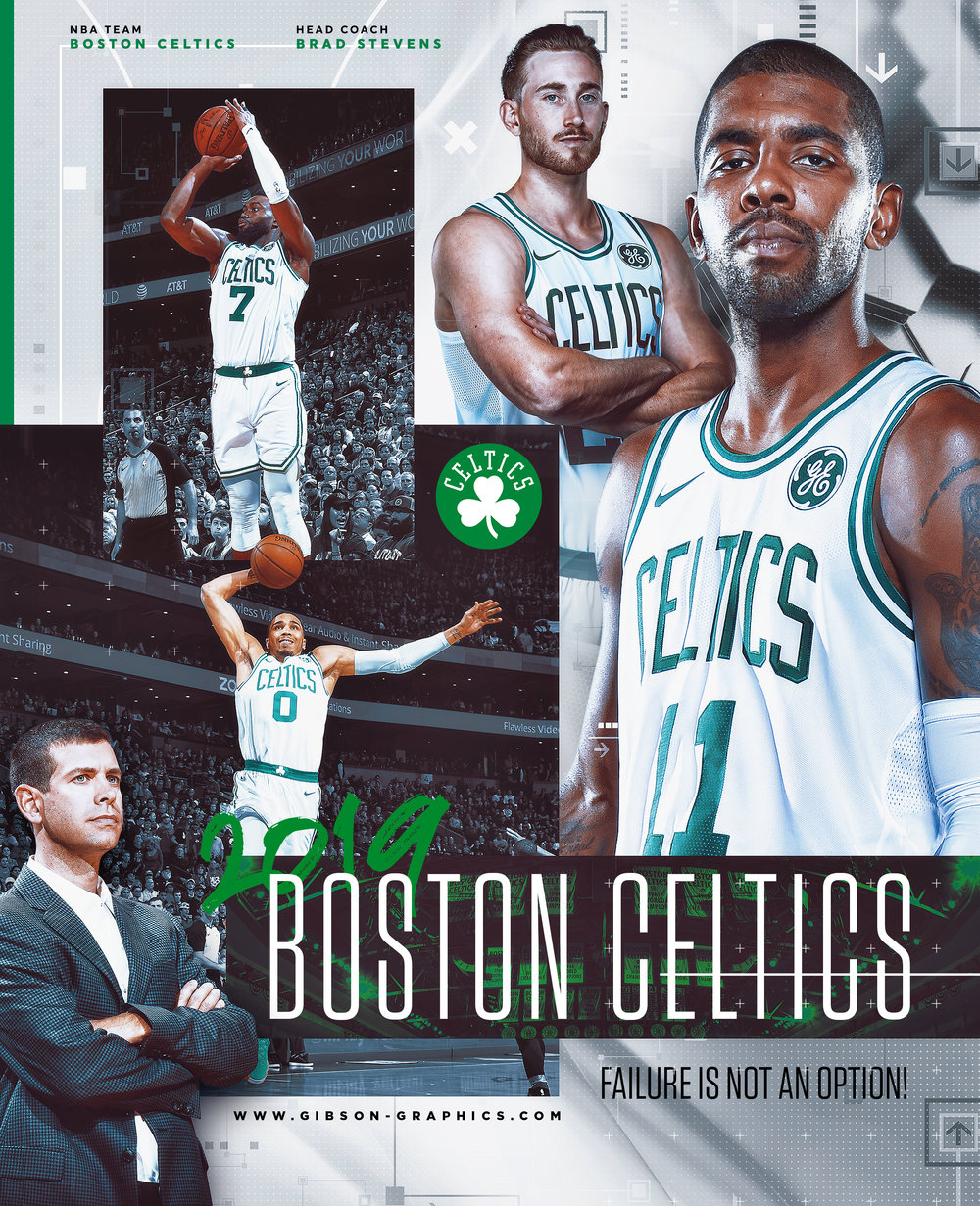 2018 Boston Celtics Kyrie Gordon Jaylen & Tatum Team Poister