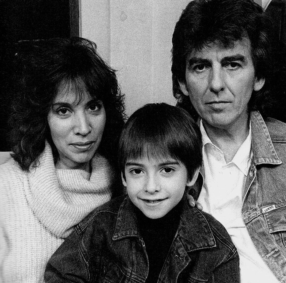 George Harrison with wife Olivia and son Dhani, 1987