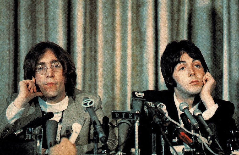 John Lennon and Paul McCartney at an Apple press conference, May 1968.