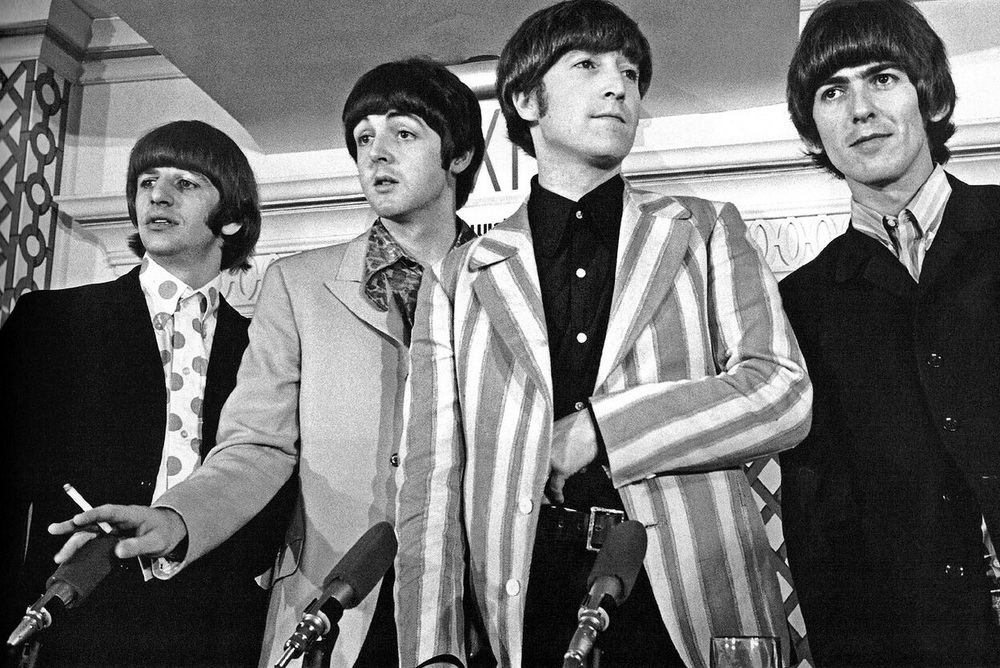 The Beatles at a press conference in America, August 1966