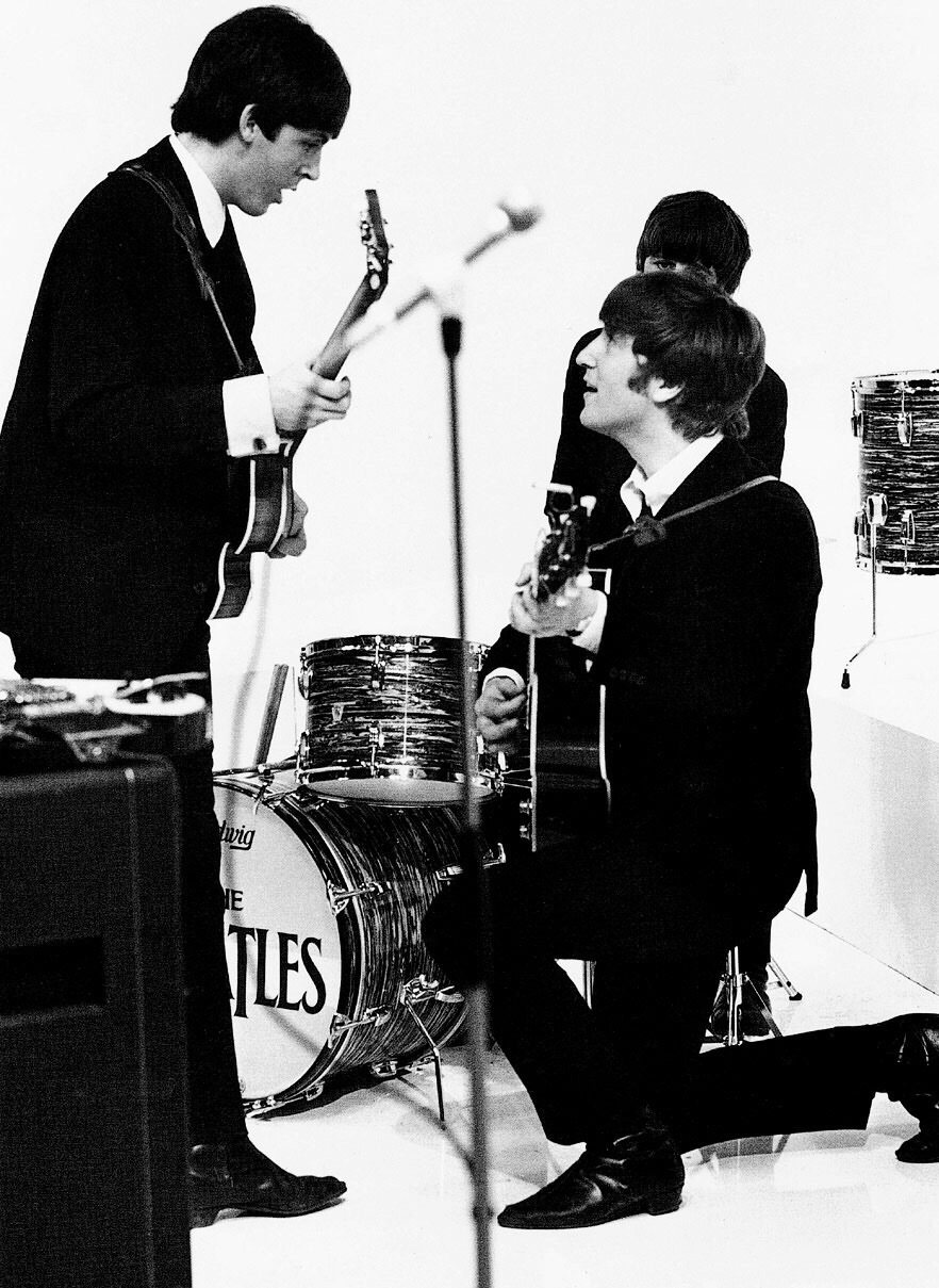 The Beatles on the set of 'A Hard Day's Night', 1964.