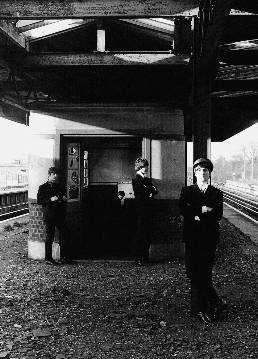 The Beatles photo shoot by a train station, 1964