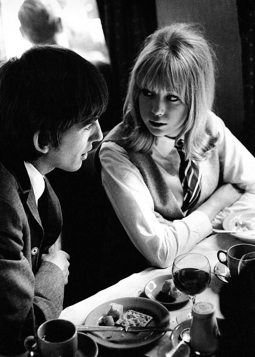 George Harrison and Pattie Boyd on the set of ' A Hard Day's Night', 1964