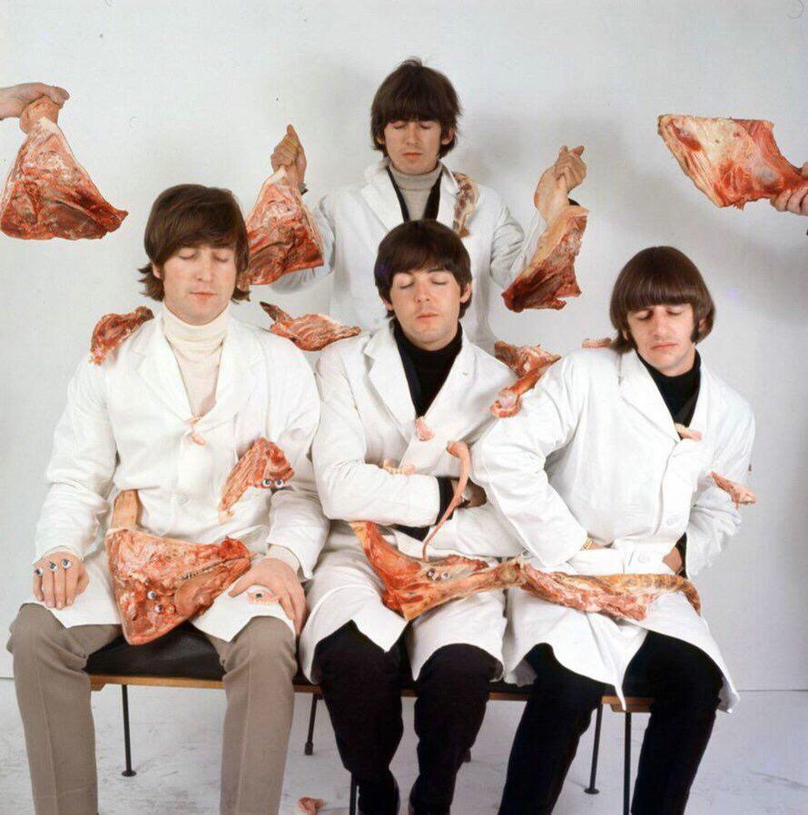 Photo by  Robert Whitaker for the Beatles' butcher cover, 1966.