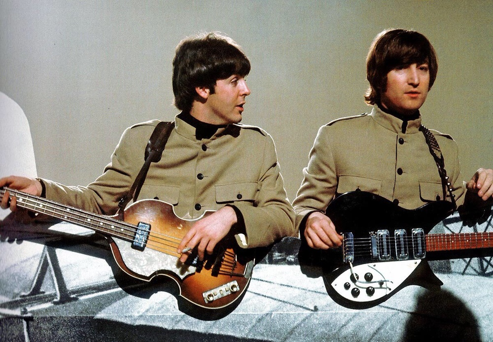 John Lennon and Paul McCartney recording a promo video for Day Tripper, 1965.