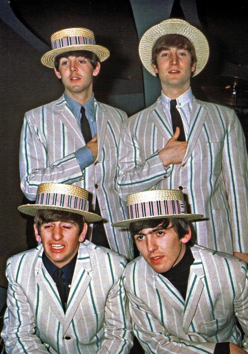 The Beatles dressed as a barbershop quartet, December 1963.