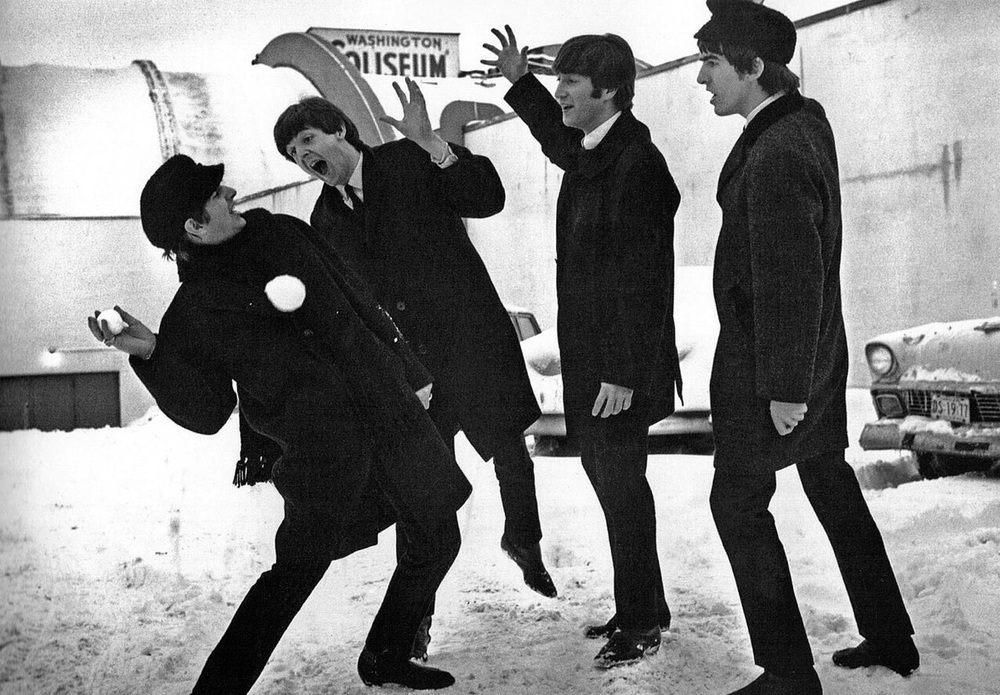 The Beatles having a snowball fight in America, February 1964.
