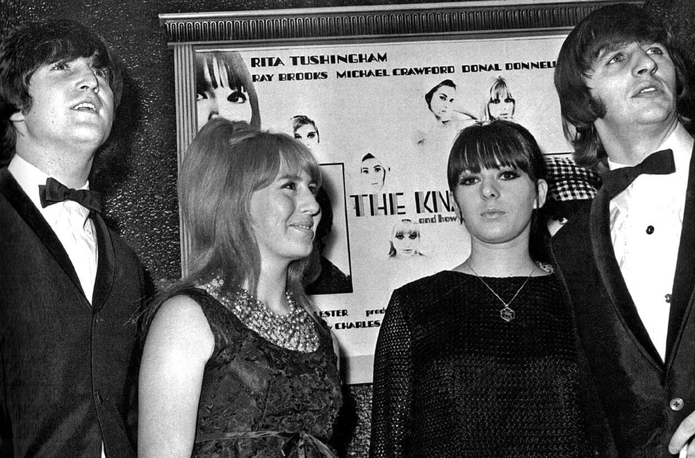 John Lennon, Cynthia Lennon, Maureen Starkey and Ringo on a night out, 1965.