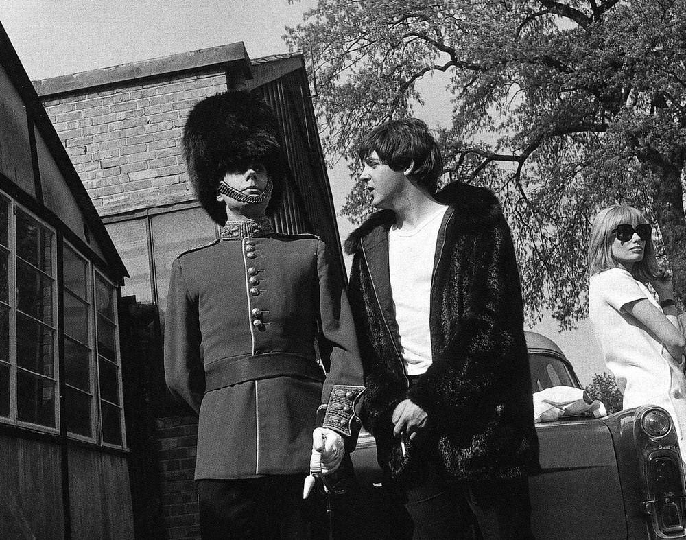 Paul McCartney filming 'Help!' with Victor Spinetti, 1965.