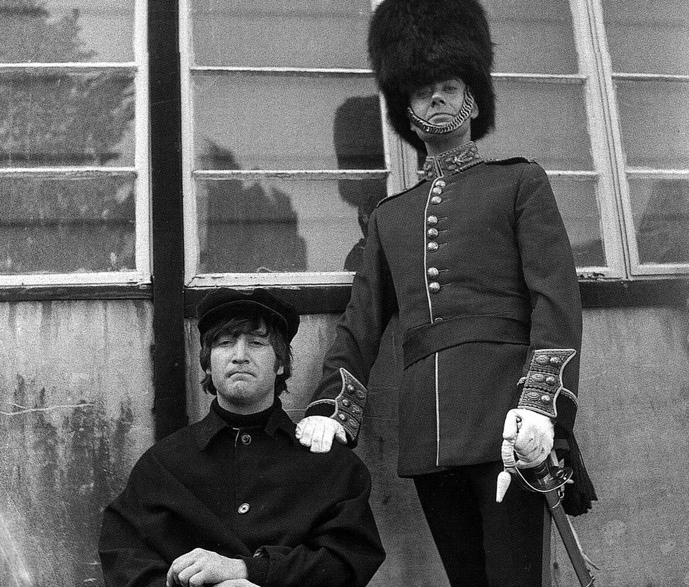 John Lennon filming 'Help!' with Victor Spinetti, 1965.