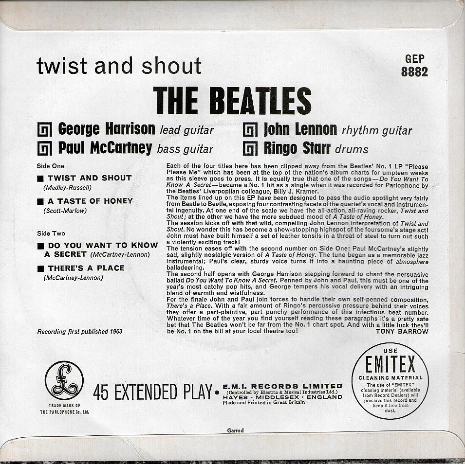 'Twist and Shout' EP back cover from the Beatles, July 12th, 1963.