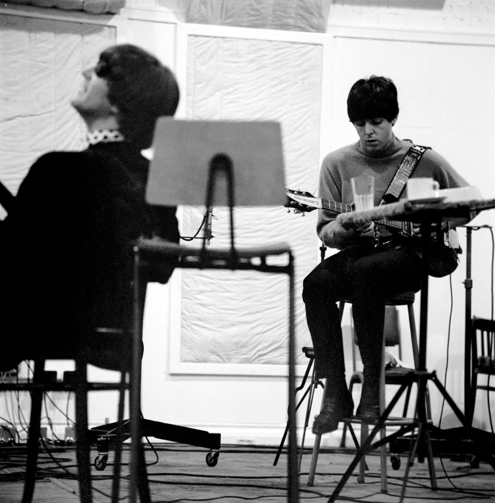 Paul McCartney and John Lennon working on 'Beatles for Sale', 1964.