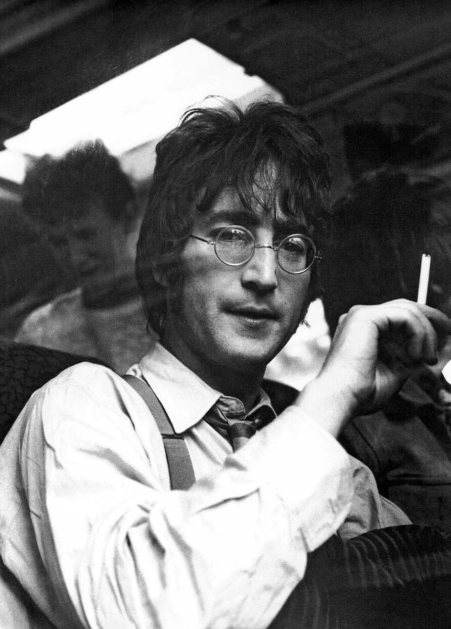John Lennon aboard the Magical Mystery Tour bus, 1967.