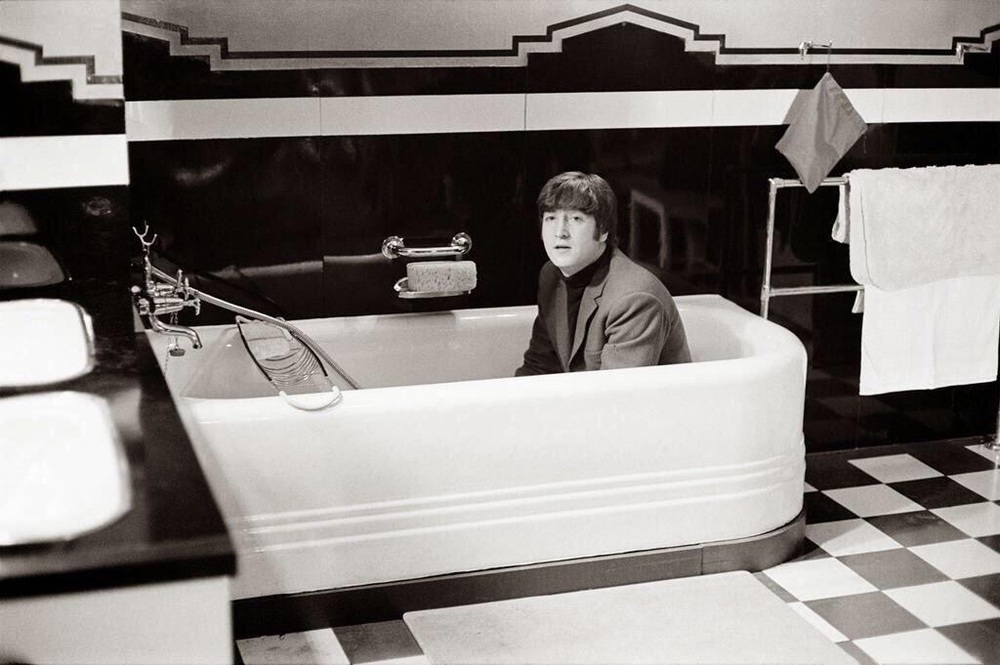 John Lennon photographed during the filming of the Beatles' movie A Hard Day's Night, 1964.