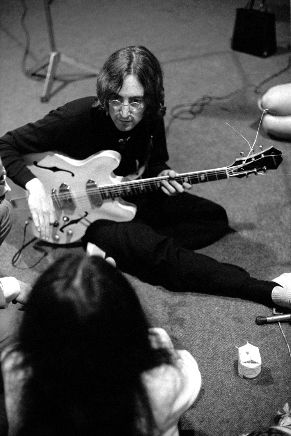 John Lennon and Yoko Ono at a White Album session, 1968.