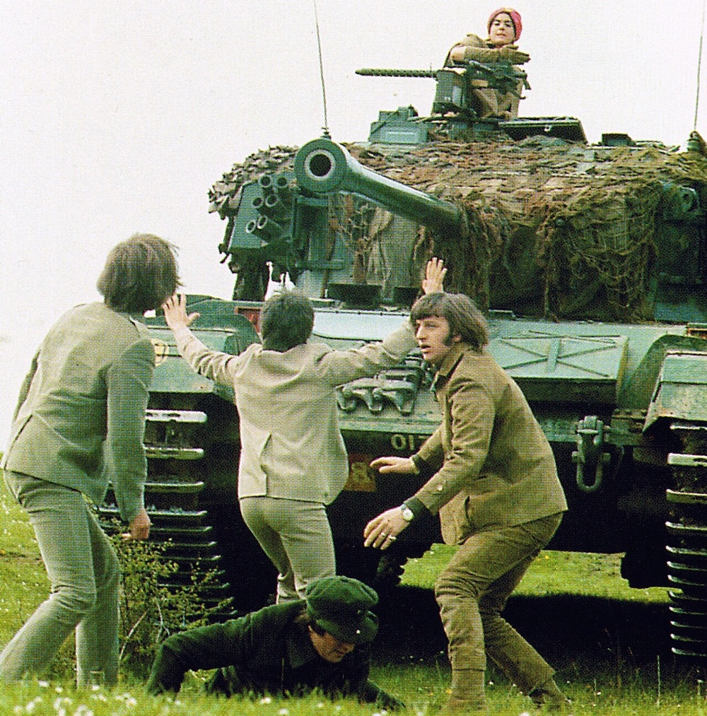 The Beatles filming Help! on the Salisbury Plain, 1965.