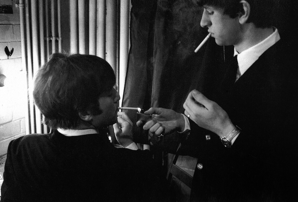 John Lennon and Ringo Starr, 1964.