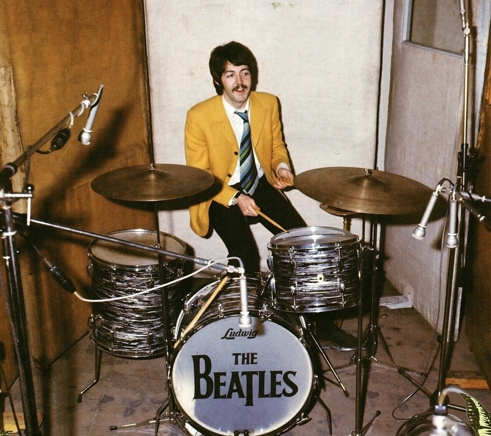 Paul McCartney playing the drums, circa 1967.