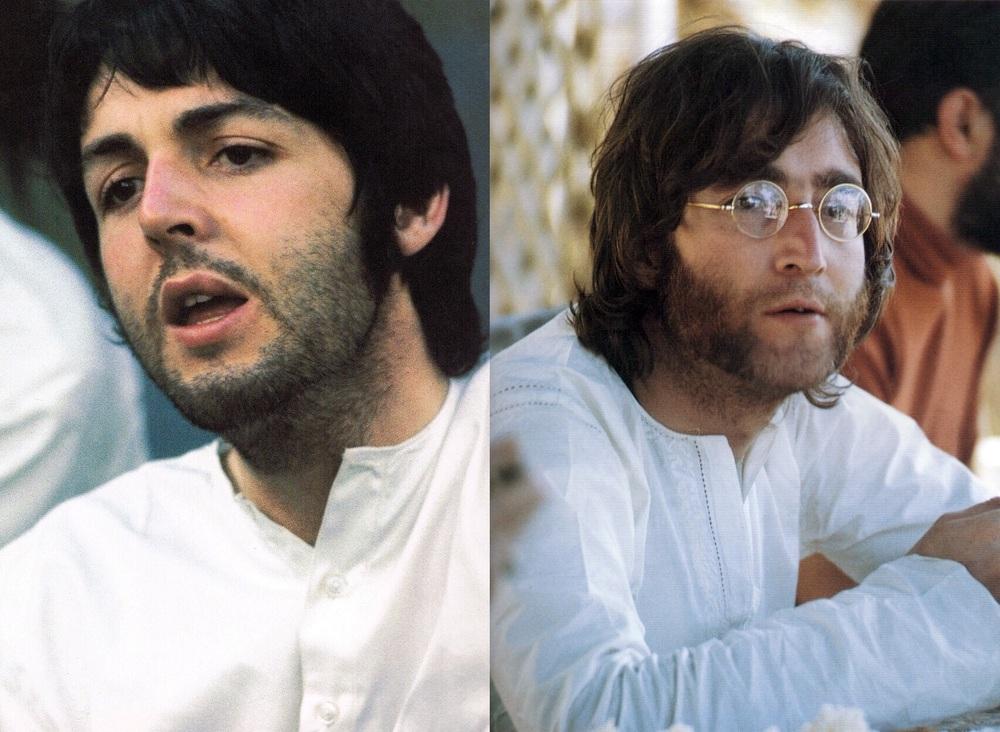 Paul McCartney and John Lennon in India, 1968.