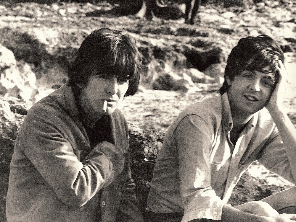 George Harrison and Paul McCartney filming Help! in the Bahamas, 1965.