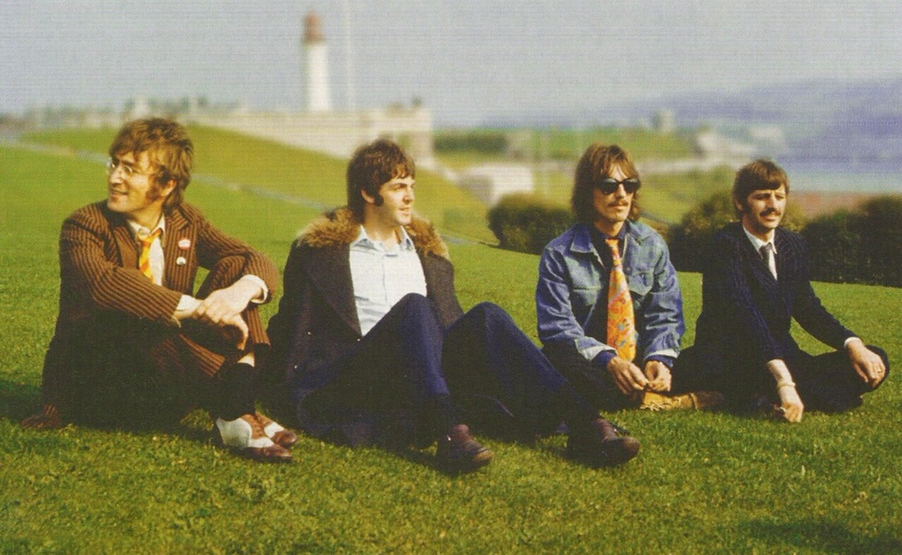 The Beatles taking in the sites of Southern England, 1967.
