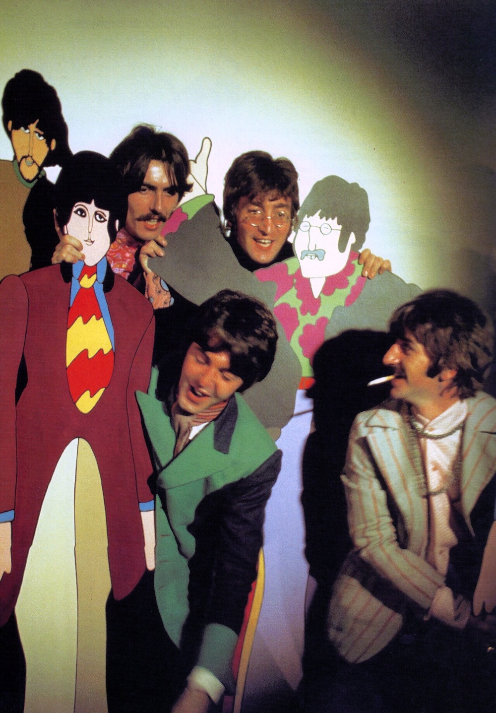 The Beatles promoting Yellow Submarine with their cardboard cutouts, 1968.