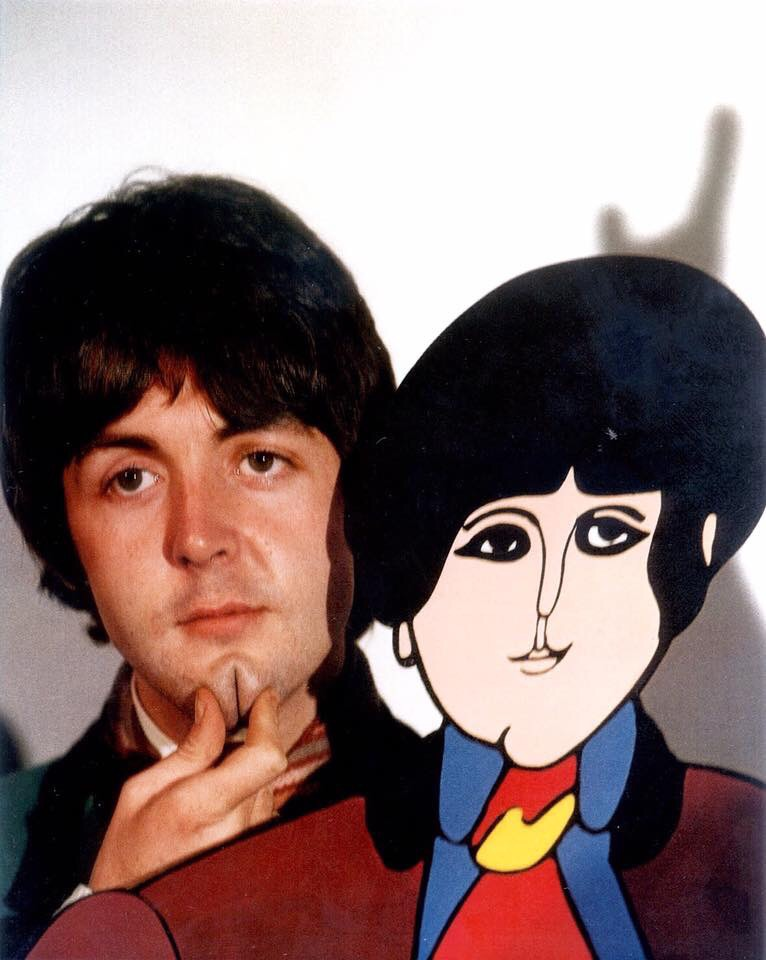 P aul McCartney promoting Yellow Submarine with his cardboard cutout, 1968.