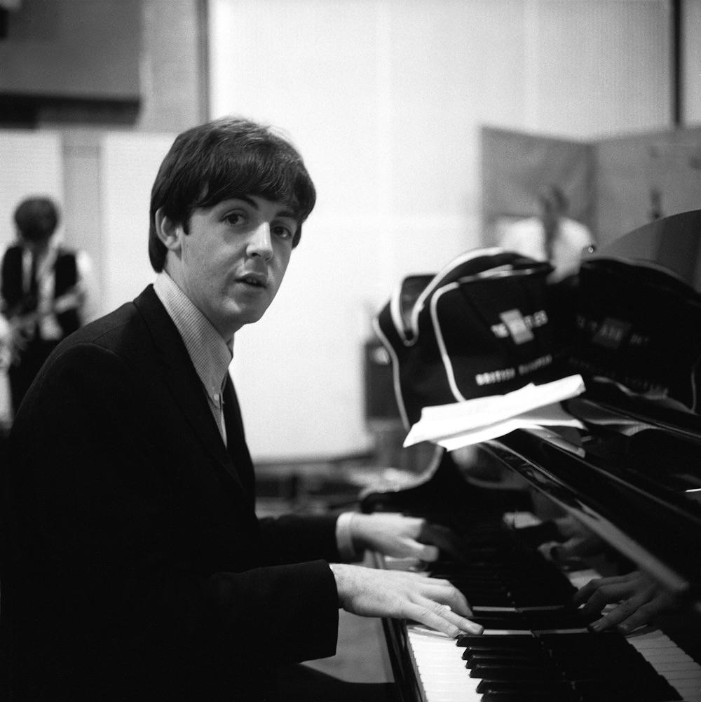 Paul McCartney recording A Hard Day's Night, 1964.