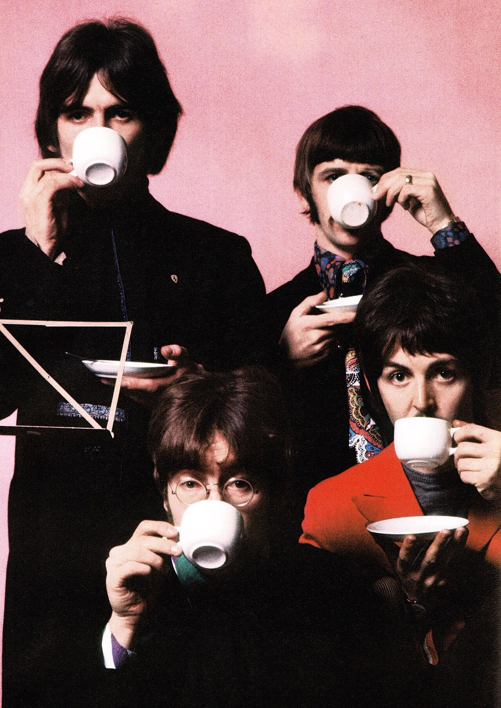 The Beatles enjoying a cup of tea, 1967.