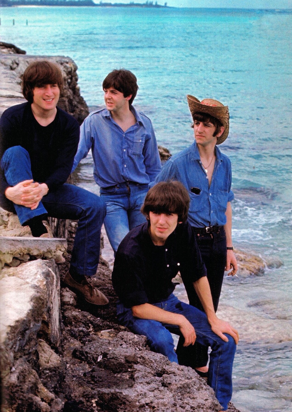 The Beatles filming Help! in the Bahamas, 1965.