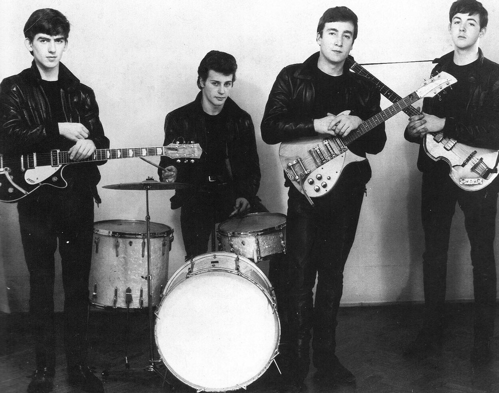 The Beatles in leather with Pete Best, circa 1961.